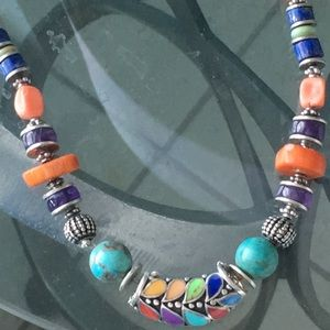 Jewelry - Turquoise,lapis,coral,silver custom made necklace